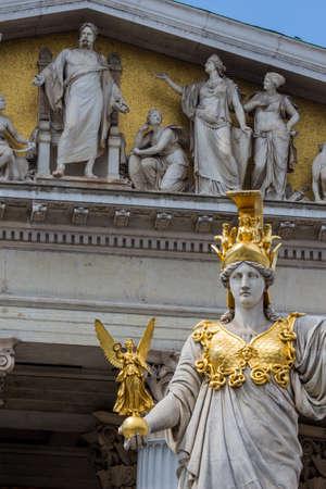 pallas: parliament in vienna, austria. seat of government. statue pallas athena, goddess of weiheit.