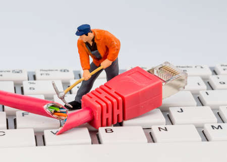 crime solving: workers, network connector, keyboard, symbol photo for internet, failure, maintenance, problem solving,