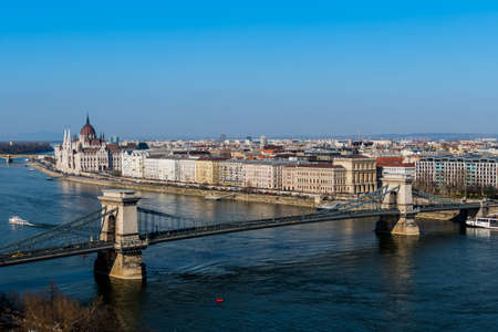 authorities: hungary, budapest. the chain bridge and the parliament are landmarks of the hungarian capital. Stock Photo