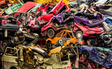 scrap: old cars in a junkyard. Stock Photo