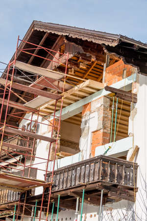 immobilien: a house is rebuilt and renovated.