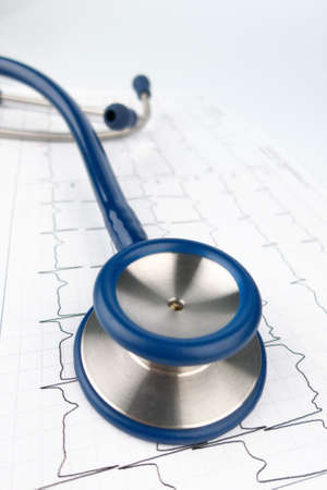 pracitioner: stethoscope and electrocardiogram, symbolfoto for heart disease and diagnosis