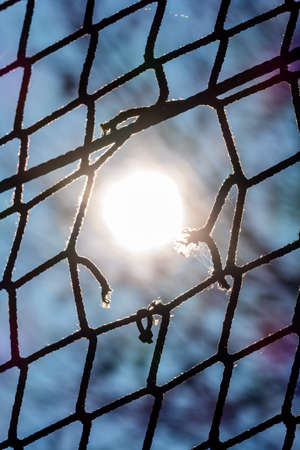 captivity: hole in a net, symbolizing captivity obstacle hope damage