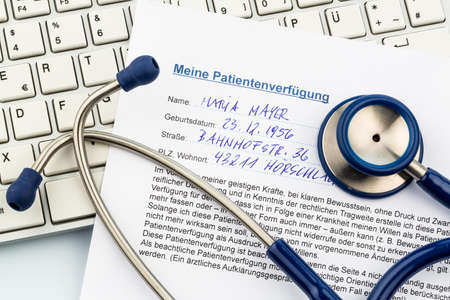 an advance in german. instructions for the doctor or the hospital in the event of a terminal illness. Stock Photo