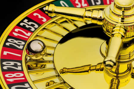 gambling: the cylinder of a roulette gambling in a casino. winning or losing is decided by chance. Stock Photo
