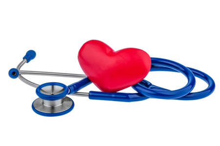 lovesickness: a heart and a stethoscope are adjacent. symbol photo for heart disease and heartache. Stock Photo