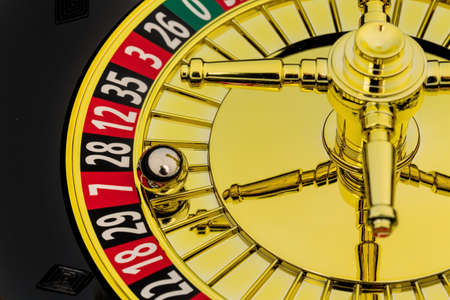 investigated: the cylinder of a roulette gambling in a casino. winning or losing is decided by chance. Stock Photo