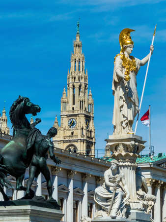 pallas: parliament in vienna, austria. with the statue of the pallas athene the greek goddess of wisdom.