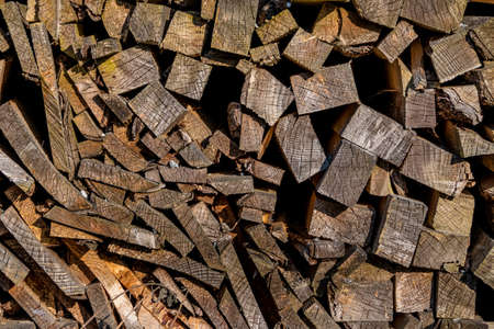 stockpiling: stack of firewood, a symbol of fuel, renewable resources, stockpiling