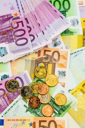 assessment system: many different euro bills. photo icon for wealth and investment.