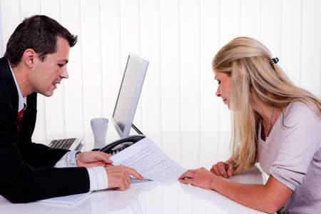 counseling session: man and woman at a counseling session Stock Photo