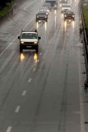 hydroplaning: with rain on the highway, poor visibility, hydroplaning, accident risk