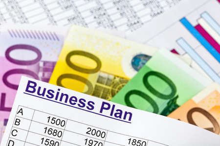 a business plan for starting a business. ideas and strategies for self-employment. euro bills. Stock Photo