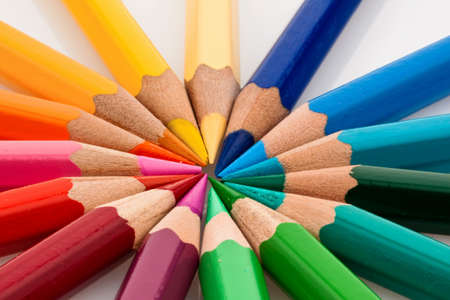 gamut: many different colored colorful crayons in a circle