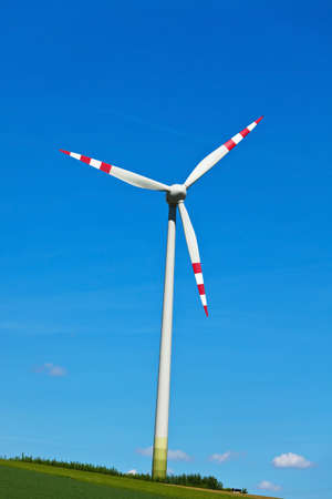 electricity generation: wind turbine of a wind power plant. generation of alternative and sustainable energy for electricity generation Stock Photo