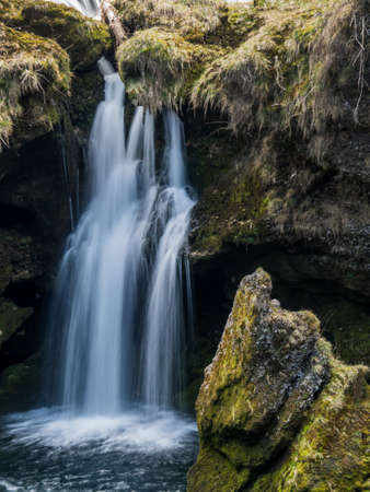 relaxen: water flows over a waterfall. beauty of nature