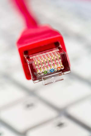 cable red: cable de red en el teclado, foto simbólica de tarifa plana, el comercio electrónico, las comunicaciones globales Foto de archivo