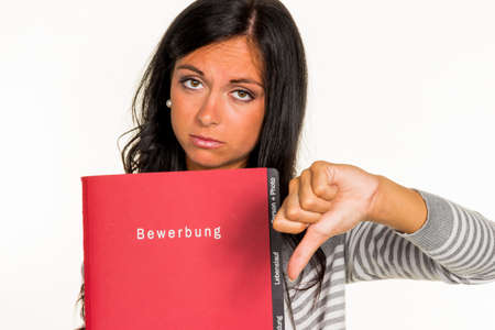 collective bargaining: a young woman holding a portfolio for application to an open job in hand.