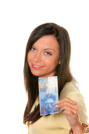 ballot paper: young woman with a ballot paper (austria) Stock Photo