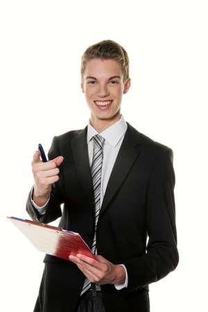 oficinista: un joven empleado en los servicios comerciales de éxito Foto de archivo