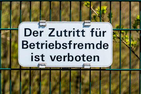 discourage: the entrance is forbidden for external. Stock Photo