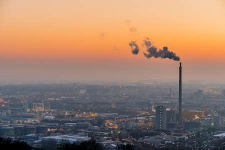 particulate: smoking chimneys in the industrial zone in linz, austria, upper austria