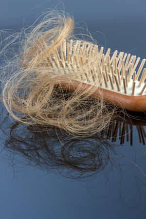 hairbrush: a hairbrush with haeren. beginning of hair loss and alopecia
