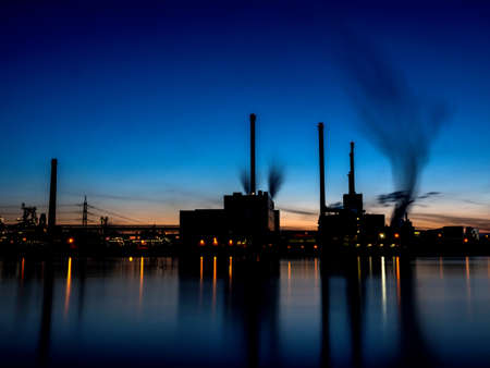 CO2 emissions: austria, linz, industrial site at night.