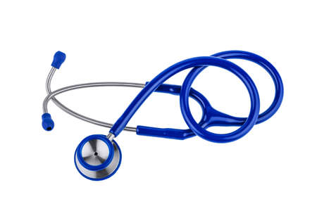 ein blue stethoscope lying on a white background.