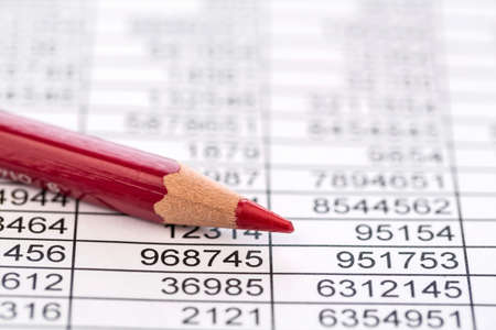 expenditure: a table with the figures of revenue and expenditure. symbol photo for kosetn, profit, controlling Stock Photo