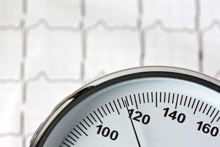 presure: measurement of blood pressure and ecg curve. sickness caused by high blood pressure.