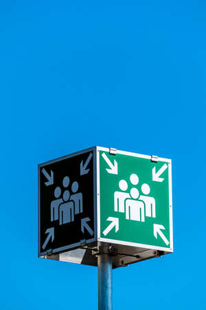 holydays: shield of meeting points against blue sky Stock Photo