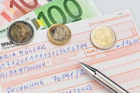 a number schin for transfer or cash payment with iban and bic code of austria.