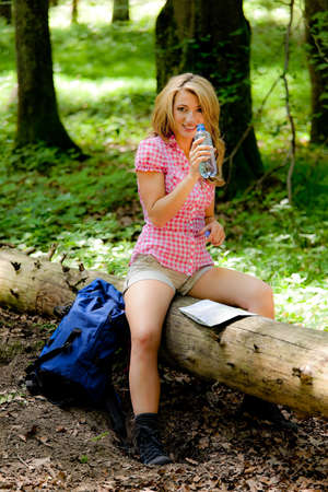 freetime activity: woman in nature while hiking