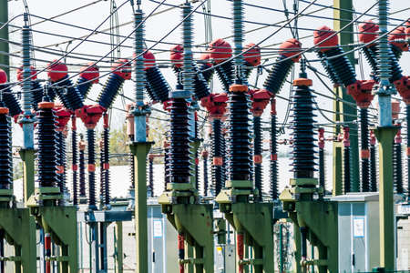 power distribution: the substation in a power plant. power distribution.