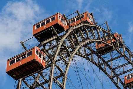 prater: one of the landmarks of vienna in austria is the ferris wheel in prater Stock Photo