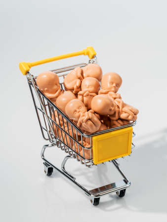 modell: many embryos oin a shopping cart. model for surrogacy, genetic engineering and artificial insemination