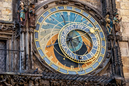 transience: the astronomical clock on the town hall in prague. czech republic