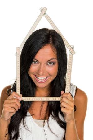 een jonge vrouw wil een huis te bouwen
