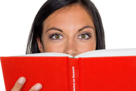 inform information: a young woman reading a book with a red envelope