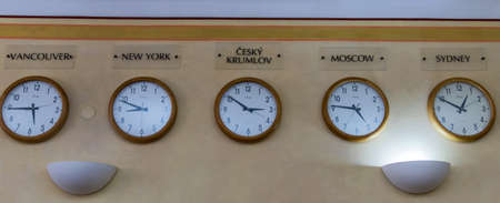 timekeeping: multiple clocks with the different zones of the world time hanging next to each other