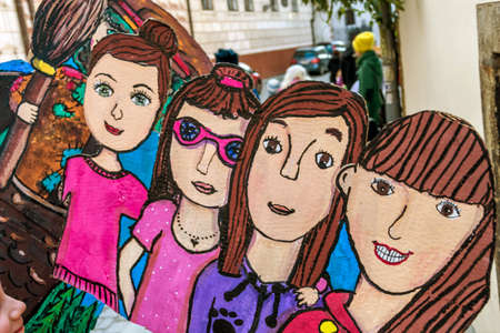 adolescents: drawings by children. children have drawn himself and adolescents.