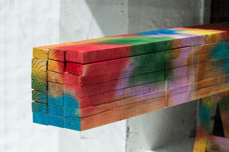 gamut: slats of wood were painted with different bright colors