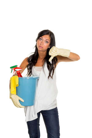 illicit: a young woman is annoyed that they have to do the housecleaning. Stock Photo
