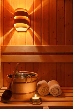 relaxen: cozy atmosphere in the sauna in a spa area of ??a wellness hotel. recreation and relax from everyday life.
