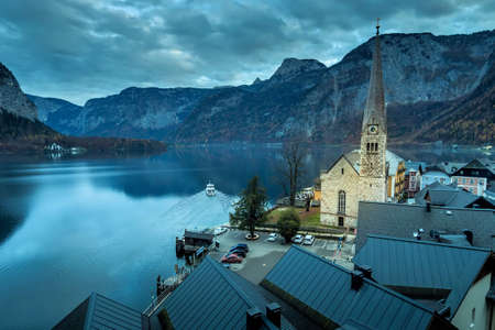the town of hallstatt in upper austria, austria. in the salzkammergut is the world heritage site. Reklamní fotografie - 58462588