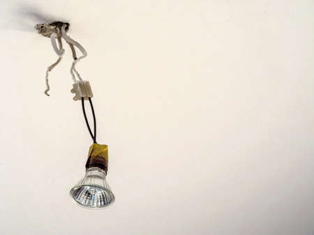 furnish: lamp socket when setting up a new apartment Stock Photo