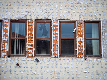 immobilien: a house is being renovated. improve the quality of living Stock Photo