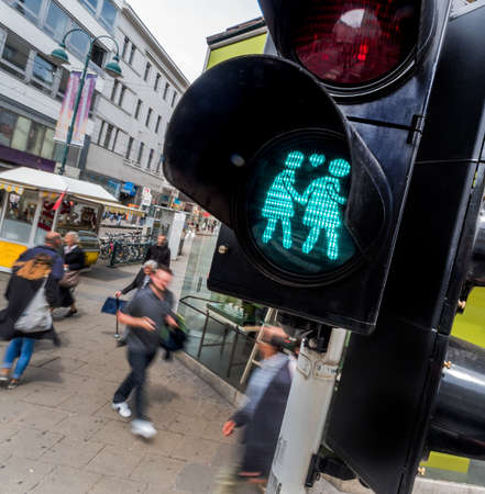 openness: linz, austria. traffic light with same-sex figures as a sign of openness and tolerance. Stock Photo