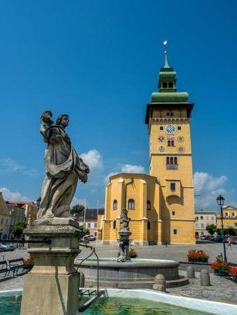 hauptplatz: austria, lower austria, retz. main square, town hall